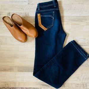 Louis Vuitton   Leather Accent Straight Leg Jeans